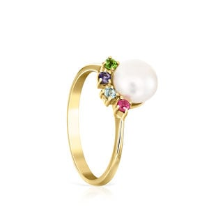 Gold Real Sisy Ring with small Pearl and Gemstones