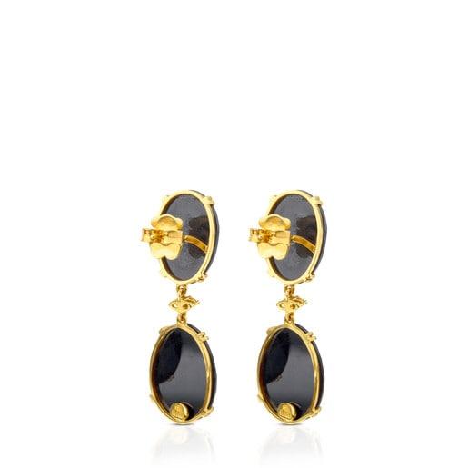Aros ATELIER Dramatic Jewelry de Oro con Diamantes y Espinelas