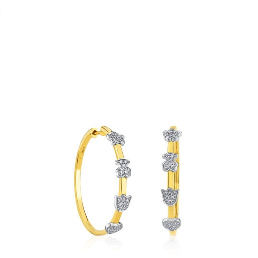 Gold TOUS Gold Puppies Earrings with Diamond
