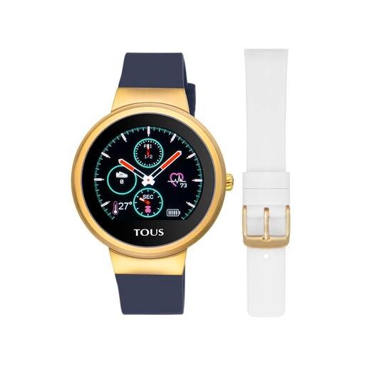 Fitnessuhr Rond Touch aus goldenem IP-Stahl mit austauschbarem Silikonarmband