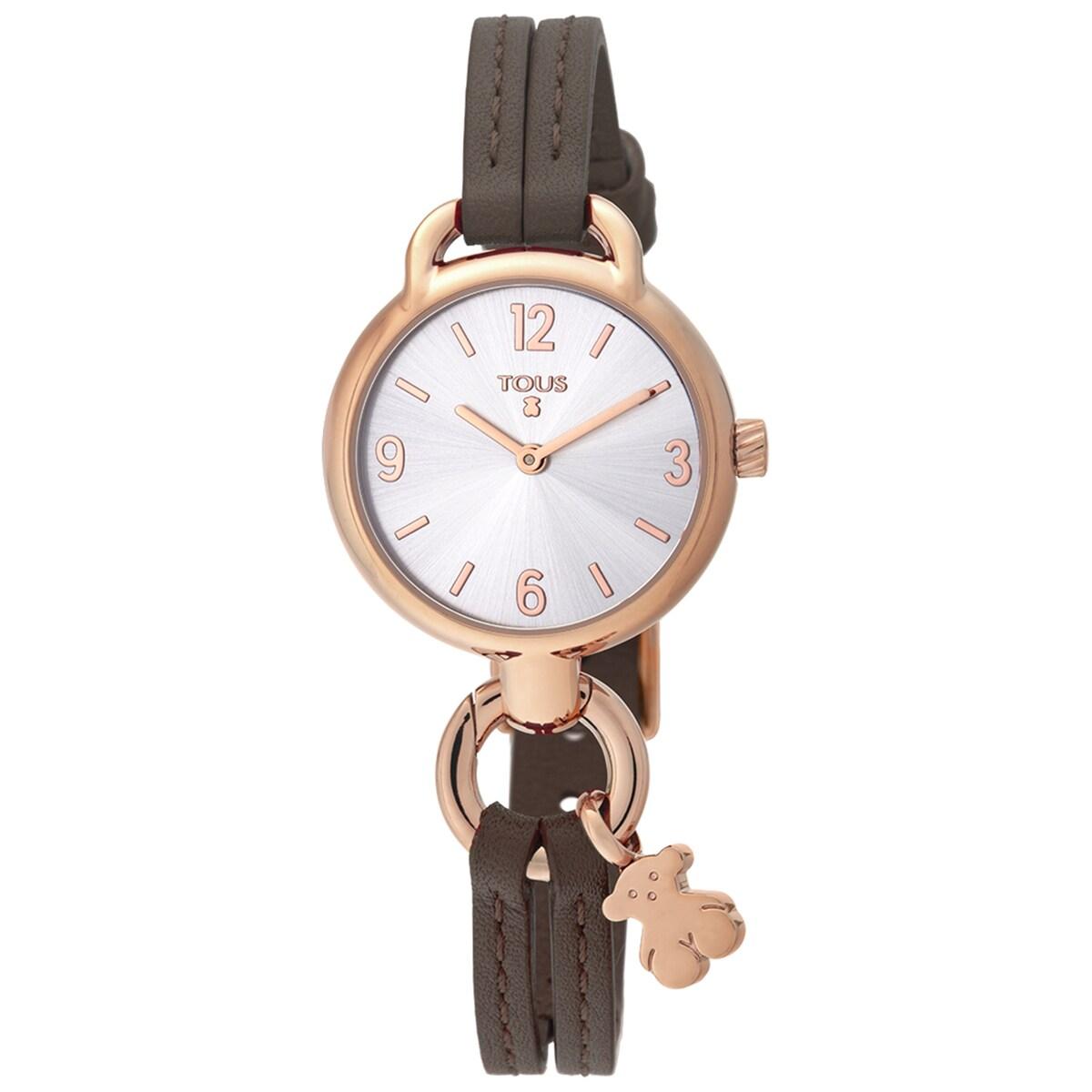 Ρολόι Hold από Ατσάλι με επιμετάλλωση σε ροζ χρώμα με καφέ Δερμάτινο λουράκι