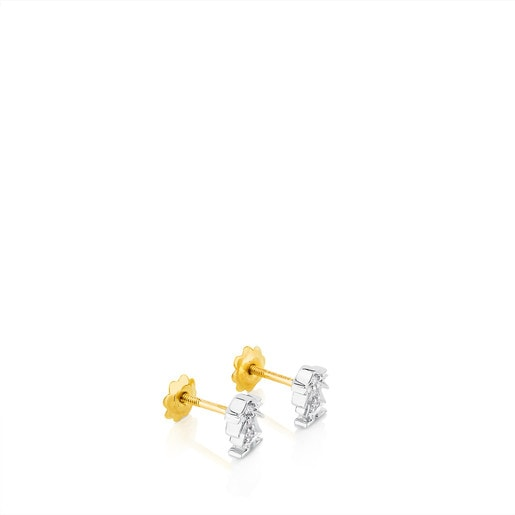 Gold Puppies Earringswith Diamonds Girl form
