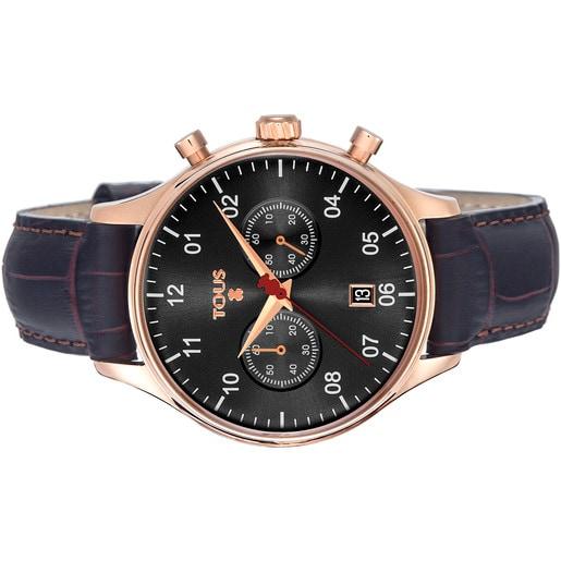 Montre 1920 en Acier IP rosé avec bracelet en Cuir noir