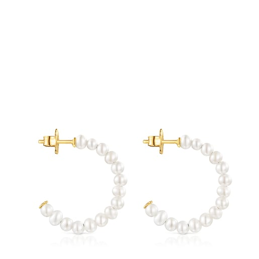 Small Gloss hoop Earrings with Pearls