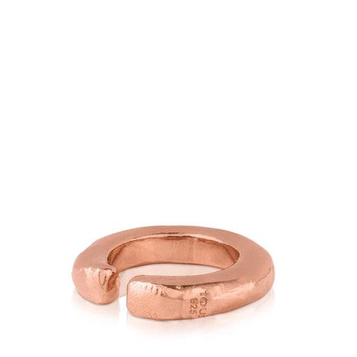 Anillo Duna Tube de Plata Vermeil rosa