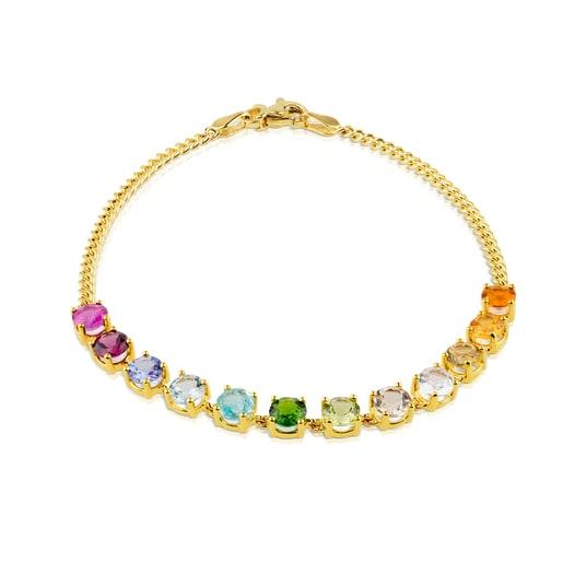 Pulsera Mix Color de Oro y 12 gemas multicolor