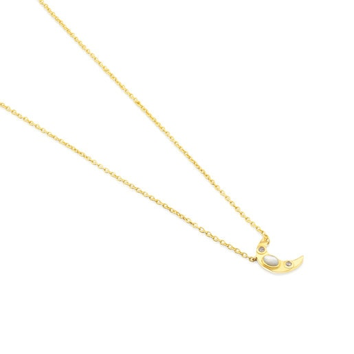 Gold Gem Power Necklace with Diamonds and Mother-of-pearl