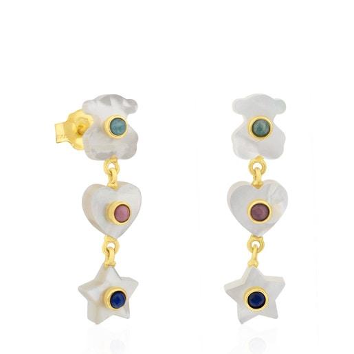 Boucles d'oreilles Super Power en Or et Nacre avec Amazonite, Rhodochrosite et Lapis-Lazuli