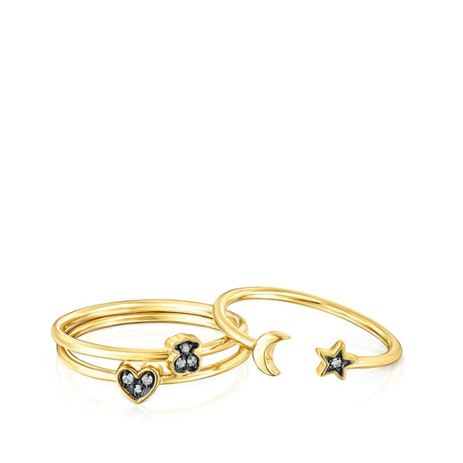 Set of Silver Vermeil Nocturne Rings with Diamonds