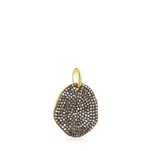 Large Silver Vermeil Nenufar Pendant with Diamonds