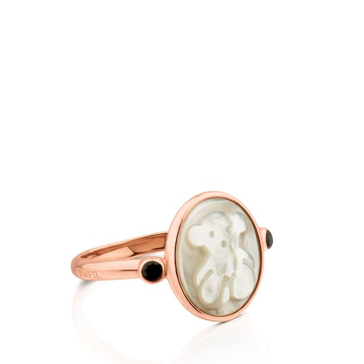 Rose Vermeil Silver Camee Ring with Mother-of-Pearl and Spinel