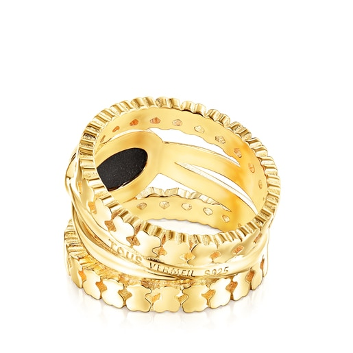 Silver Vermeil Straight Ring with Onyx
