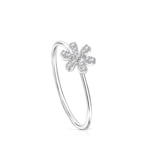 Ring Blume aus Weißgold mit Diamanten