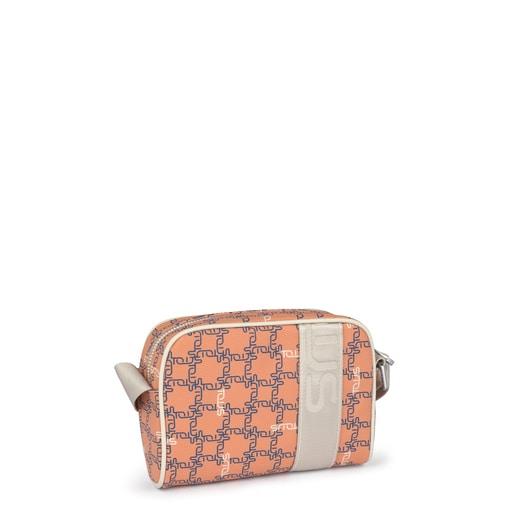 Μικρή πορτοκαλί-μπεζ τσάντα Χιαστί TOUS Logogram