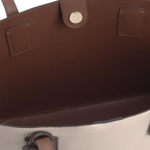 Capazo grande Tous Essential beige y marrón