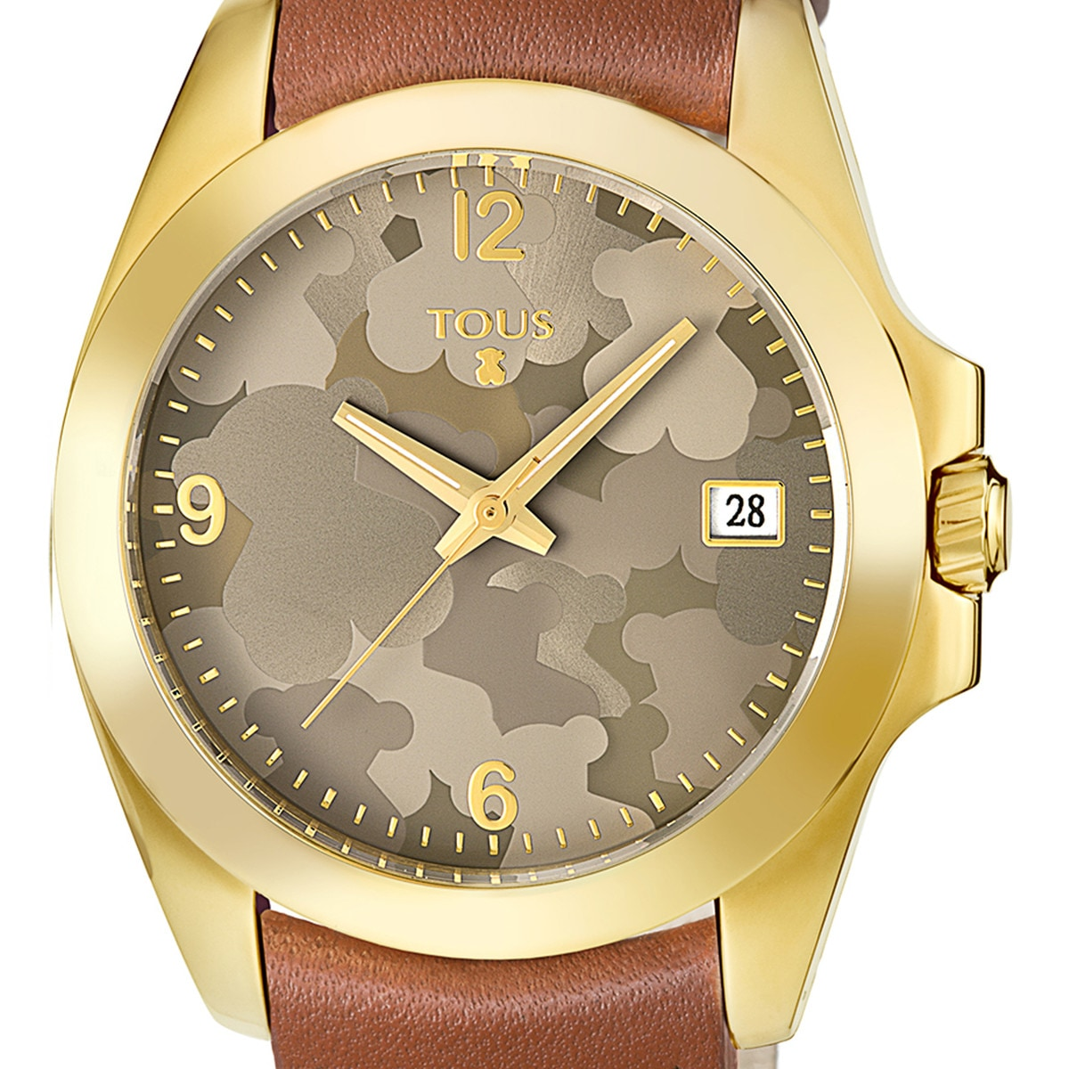 39e91af73893 Gold IP Steel Drive Camuflaje Watch with brown Leather strap - Tous ...