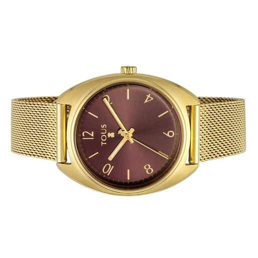 Reloj Retro de acero IP dorado
