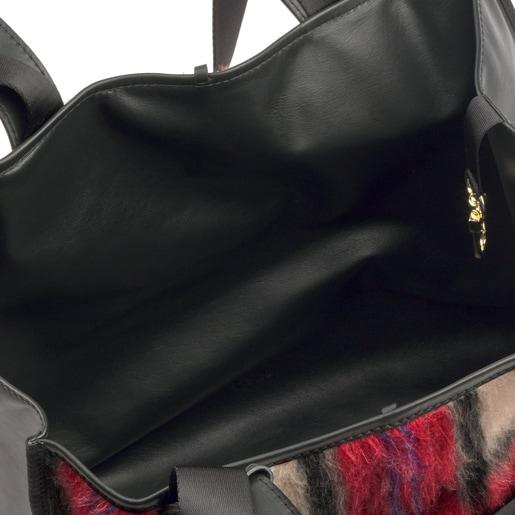 Tote bag grande Leissa reversível em pele multi-preto