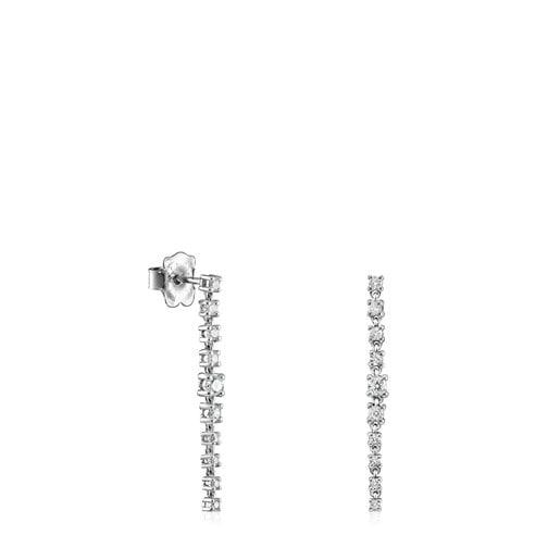 Aretes largos Riviere de Oro blanco con Diamantes