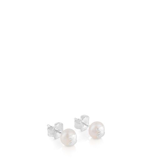 Silver TOUS Bear Earrings with pearls