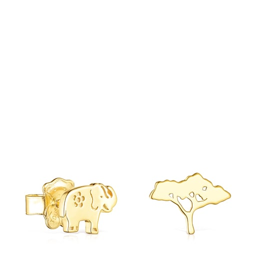 Silver Vermeil Save elephant - tree Earrings