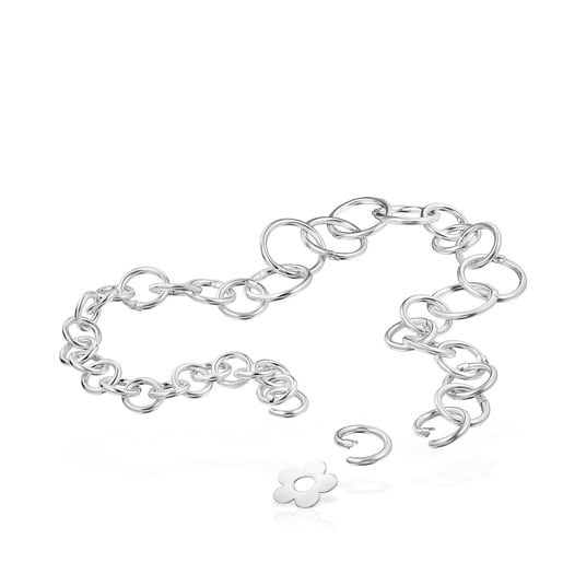 Hold Metal Silver Flower Necklace