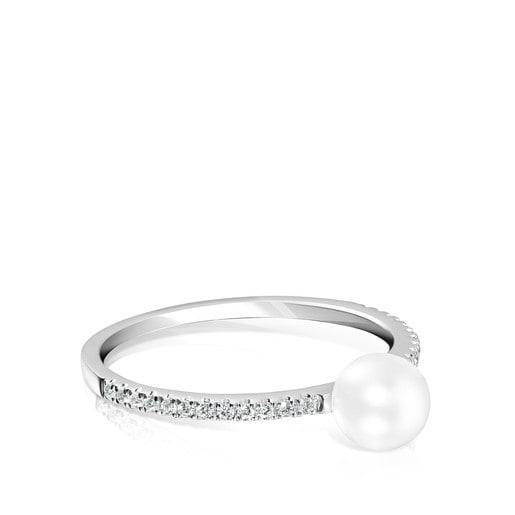 Anel Les Classiques em Ouro branco com Diamantes e Pérola