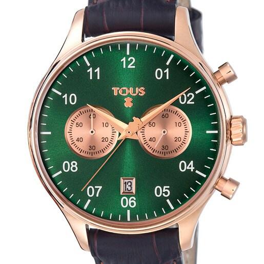 Reloj 1920 de acero IP rosado esfera verde con correa de piel marrón
