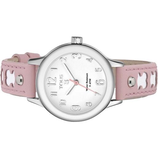 Montre Dolce en Acier avec bracelet en Cuir rose