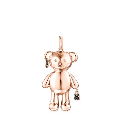 Rose Silver Vermeil Teddy Bear punk pendant with Spinels