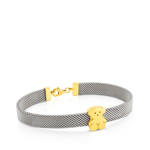 Gold and Steel Mesh Bracelet