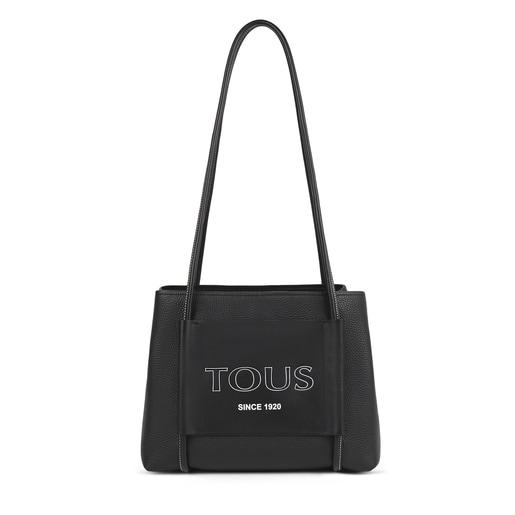 Large black Leather TOUS Empire City bag