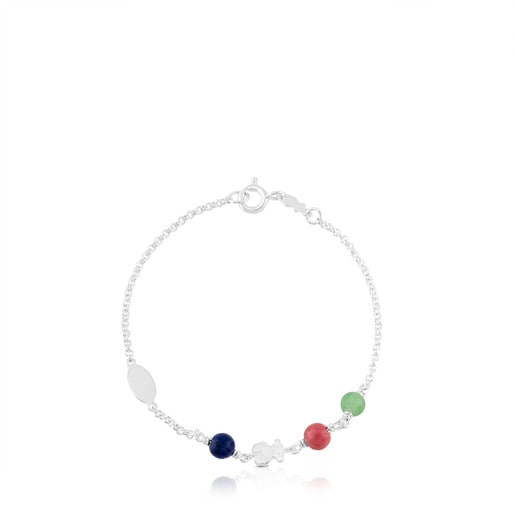 Pulsera TOUS Puppies de Plata gemas multicolor