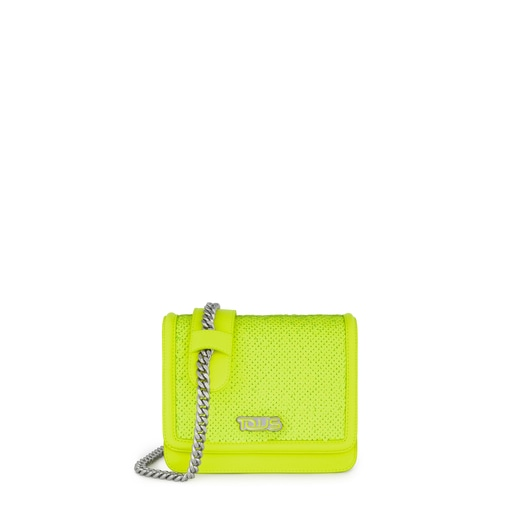 Fluorescent yellow Ruby Crossbody bag with sequins