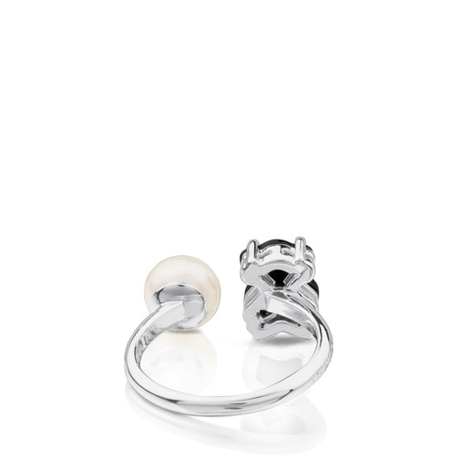 Silver TOUS Erma Ring with onyx, pearl and spinels