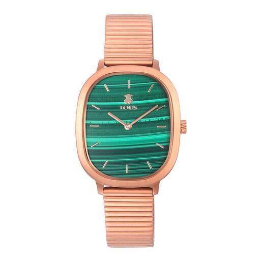 Relógio Heritage Gems em aço IP rosado com mostrador de Malaquite
