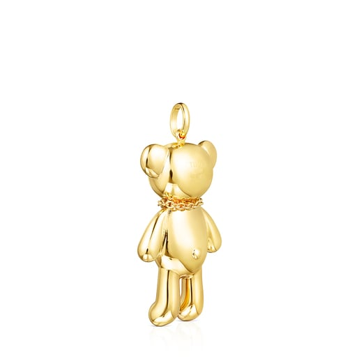 Silver Vermeil Teddy Bear necklace Pendant with Spinels