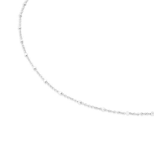 Gargantilha TOUS Chain em Ouro branco com bolas intercaladas, 40cm.
