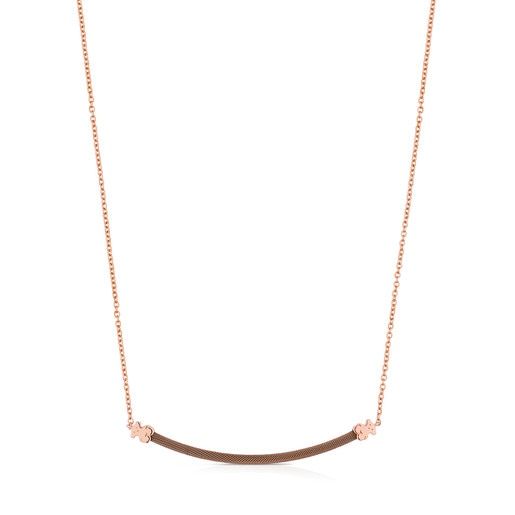 IP Steel and Rose Vermeil Silver TOUS Icon Mesh Necklace 40cm.