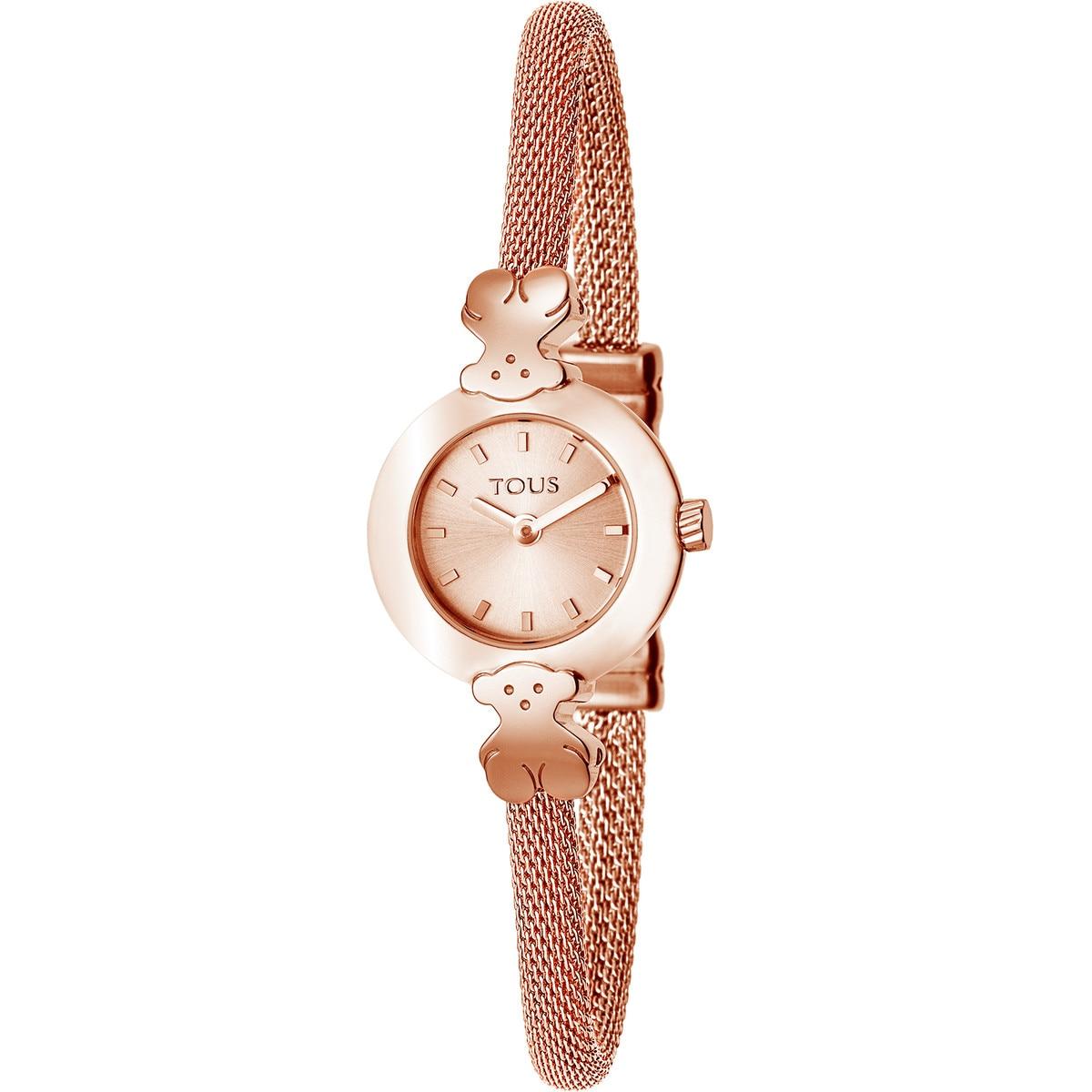 Pink IP Steel Icon Mesh Watch
