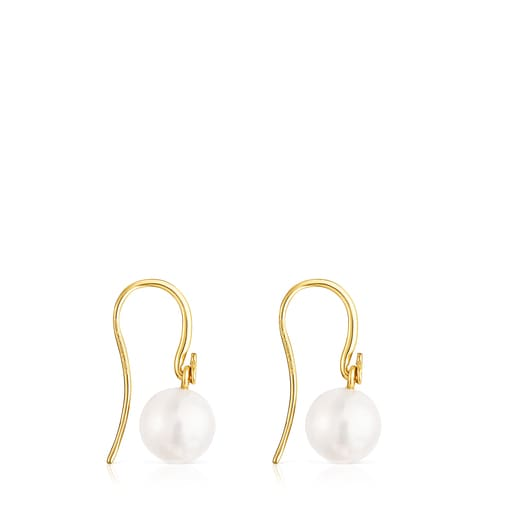 Short Silver Vermeil Gloss Earrings with Pearl