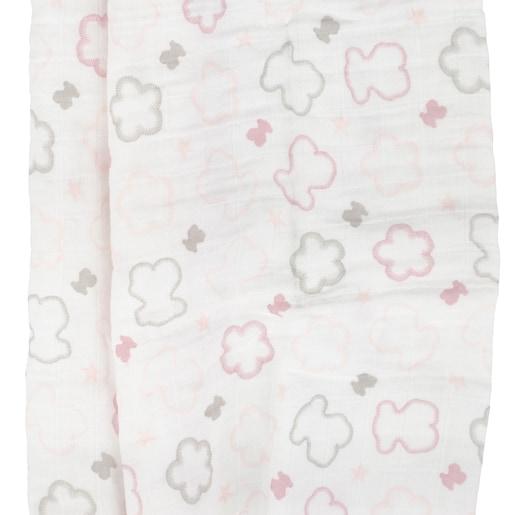 Mantilha Ursos e Flores rosa