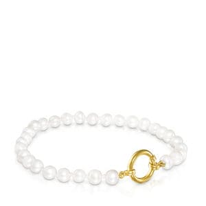 Gold Hold Bracelet with Pearls