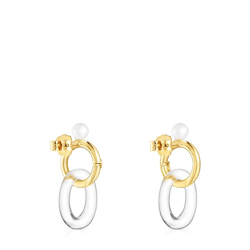 Gold Luz Earrings with Crystal and Pearl