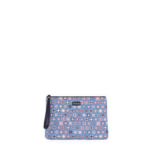 Blue Mossaic Tie Canvas Clutch bag