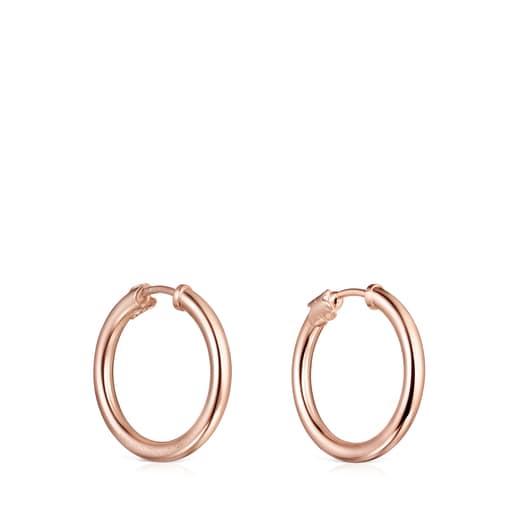 Pendientes aro pequeños TOUS Basics de Plata Vermeil rosa