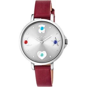 Reloj Super Power de acero con correa de piel roja