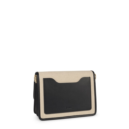 Medium beige and black Audree T Cotton crossbody bag