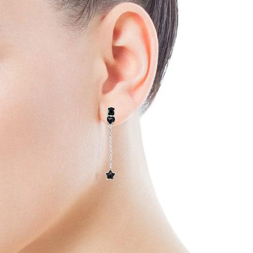 Kurze Ohrringe Mini Onix aus Silber mit Onyx