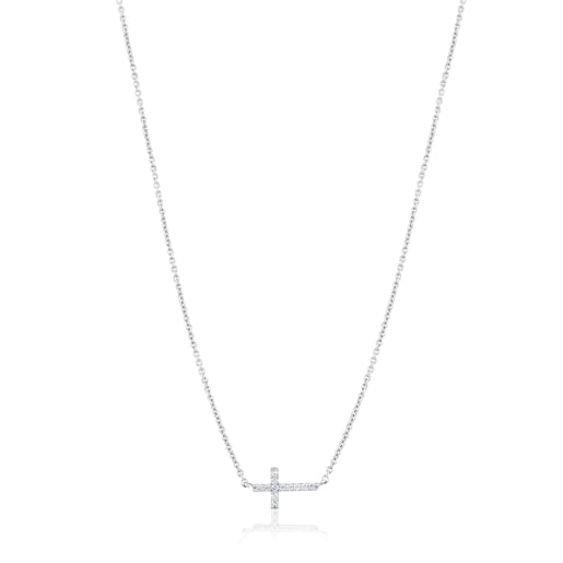 White gold TOUS Cruz Necklace with Diamonds